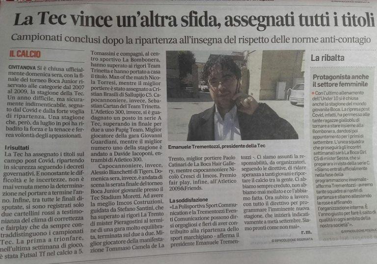 Oggi il Corriere Adriatico celebra la Tec