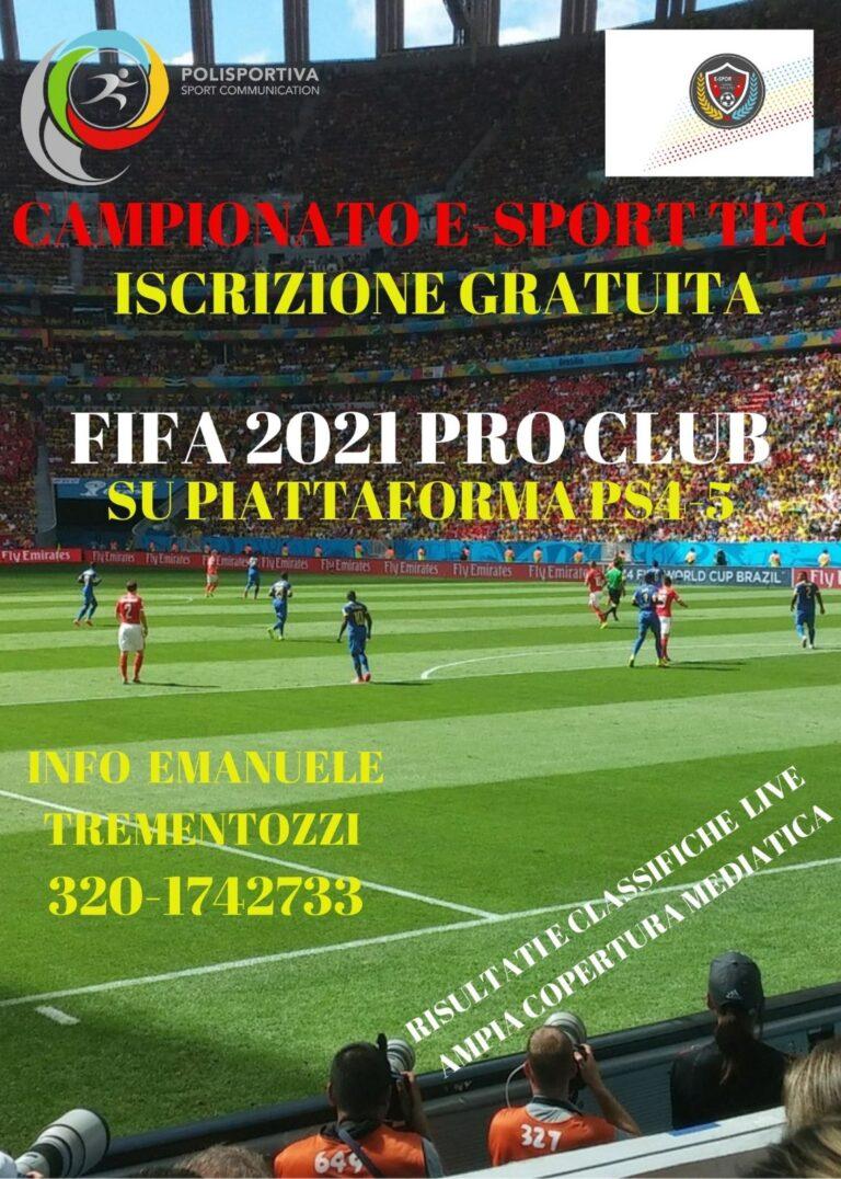 """In fase di programmazione il Campionato E-Sport Tec """"Pro Club"""" Fifa 21"""