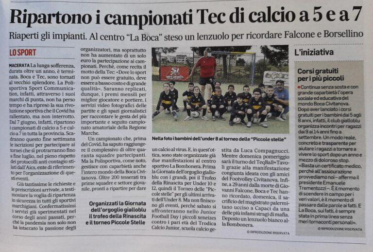 RIPARTONO I CAMPIONATI TEC. CORRIERE ADRIATICO